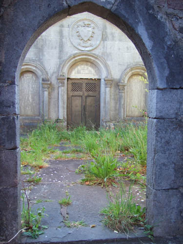 Feature from the remains of the old Catholic church looking onto the Vandeleur Mausoleum